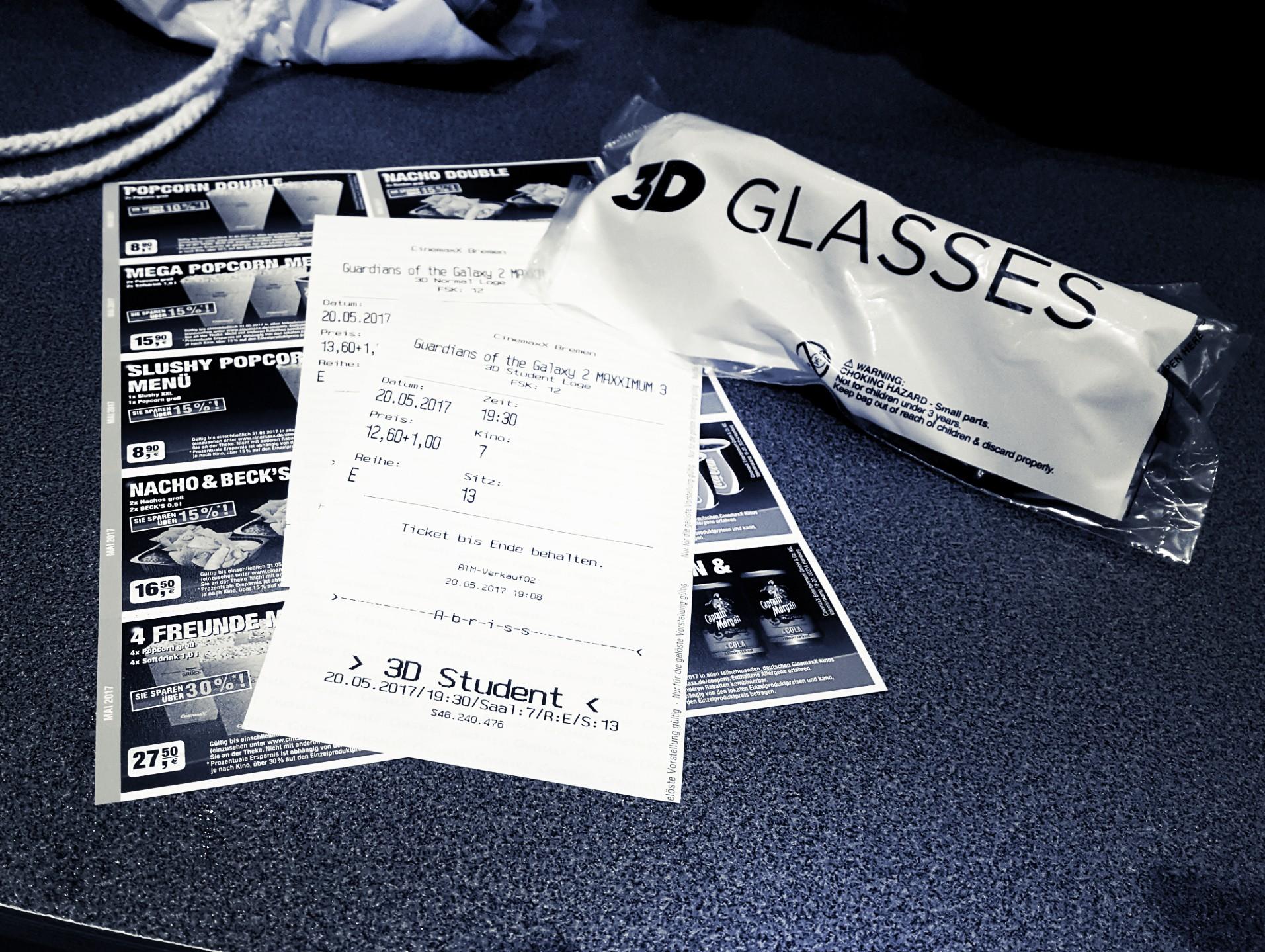 Kinokarten und eine 3D-Brille
