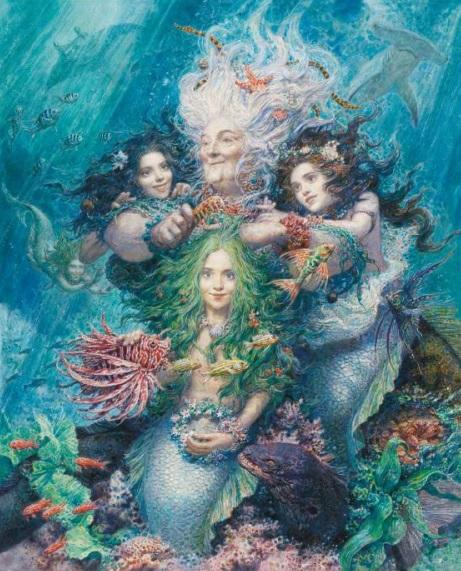 Bunte Illustration von vier Meerjungfrauen unter Wasser